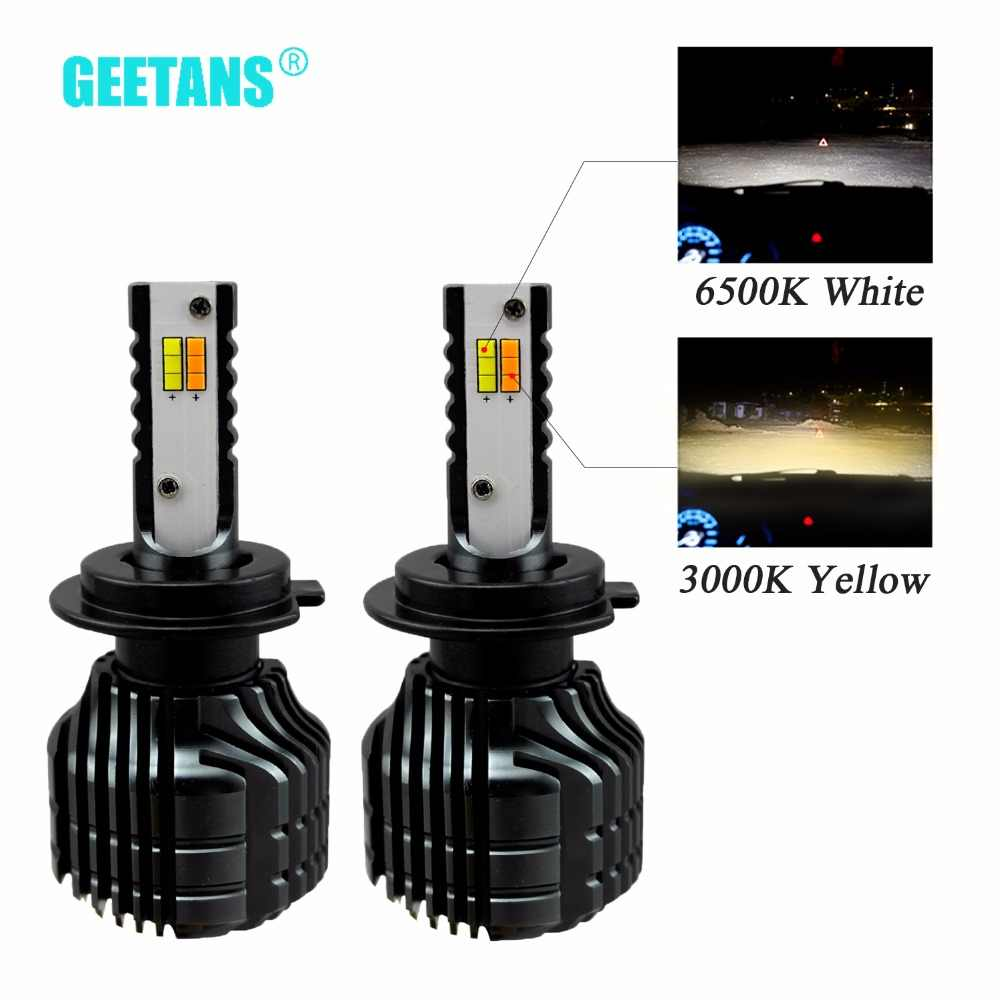GEETANS 2pcs H7 H4 LED Dual Color Car Headlight H8 H9 H11 9005 9006 3000K 6500K Auto Bulbs Headlamps Universal For All Car BB