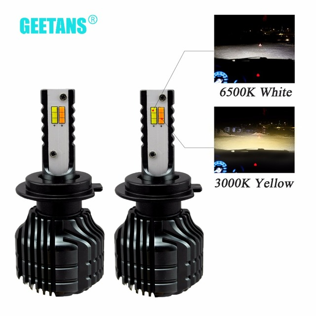 GEETANS 2pcs H7 H4 LED Dual Color Car Headlight H8 H9 H11 9005 9006 3000K 6500K Auto Bulbs Headlamps Universal For All Car BB