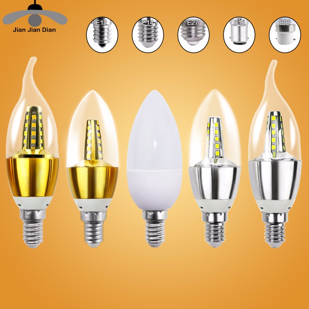 E14 LED Candle Bulb Light E27 Energy Saving Lamp 220V 3W 5W 7W E12 B15 B22 Bombilla Lampara Chandelier Home Decoration Spotlight