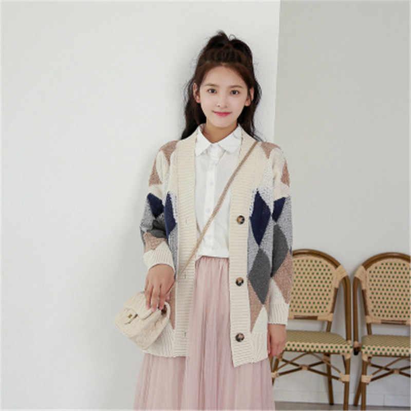 Новый 2018 осень-зима корейский просто хит Цвет алмаз v-образным вырезом шерстяной вязаный свитер кардиган