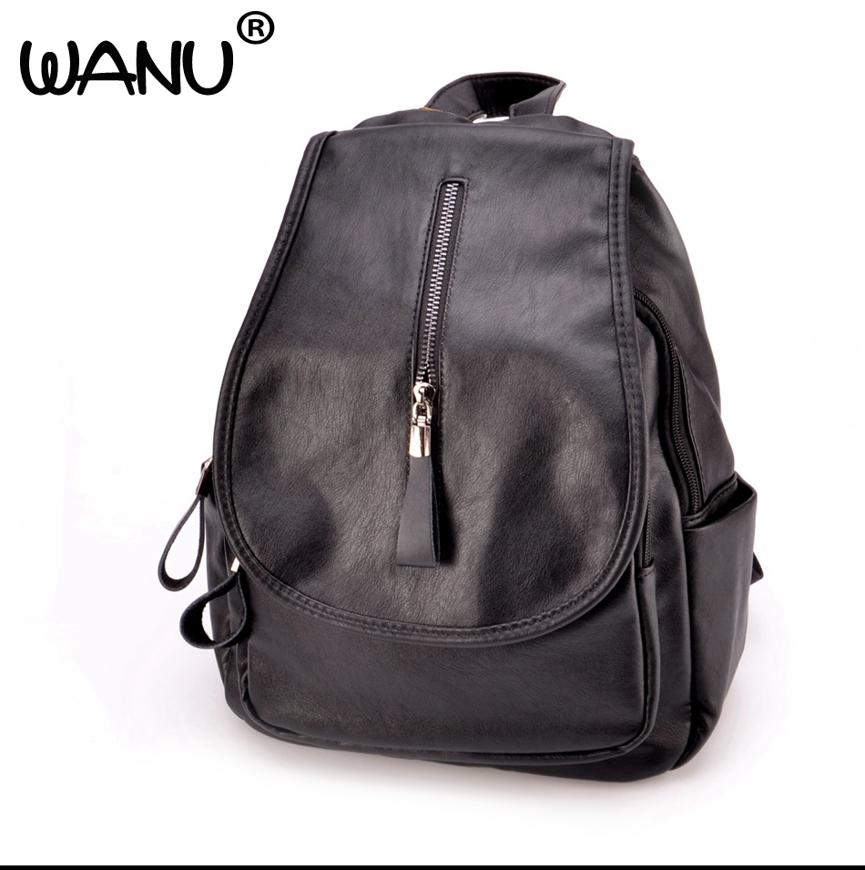 WANU Black Fashion Backpack Women Backpacks Leather School Bags For Girls Travel Shoulder Bag Female High