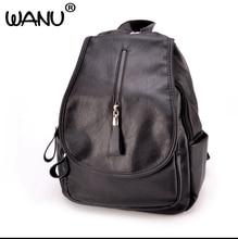 Wanu моды черный рюкзак Для женщин Рюкзаки кожа Школьные сумки для Обувь для девочек Дорожная сумка женский высокое качество сумки