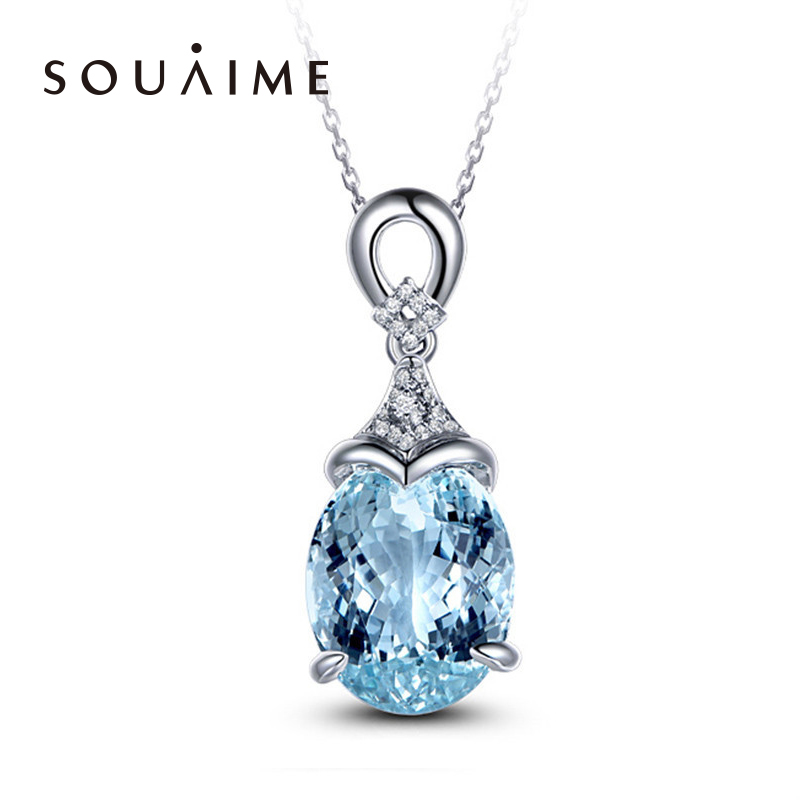 SOUAIME S925 Sterling Silver Sky Blue Topaz Gemstone Pendant Necklace Ladies Sterling Silver Necklace Best Birthday Gift