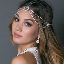 Stonefans, cadena de diadema nupcial Vintage Bohemia con diamantes de imitación para mujer, diadema de cristal para la frente, accesorios para el cabello