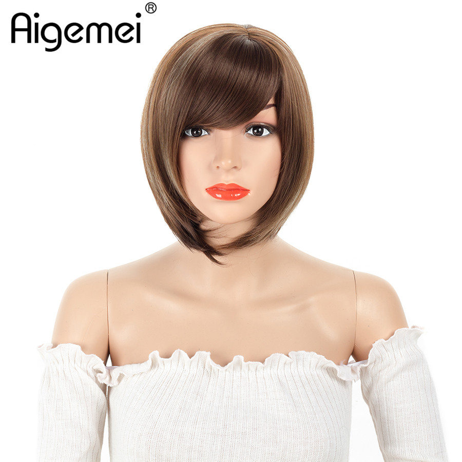 Aigemei 12Inch Short Straight Bob Wigs Mixed Blond and Brown Highlighted Bob With Bangs Synthetic Women Cosplay Or Party Bob Wig ...