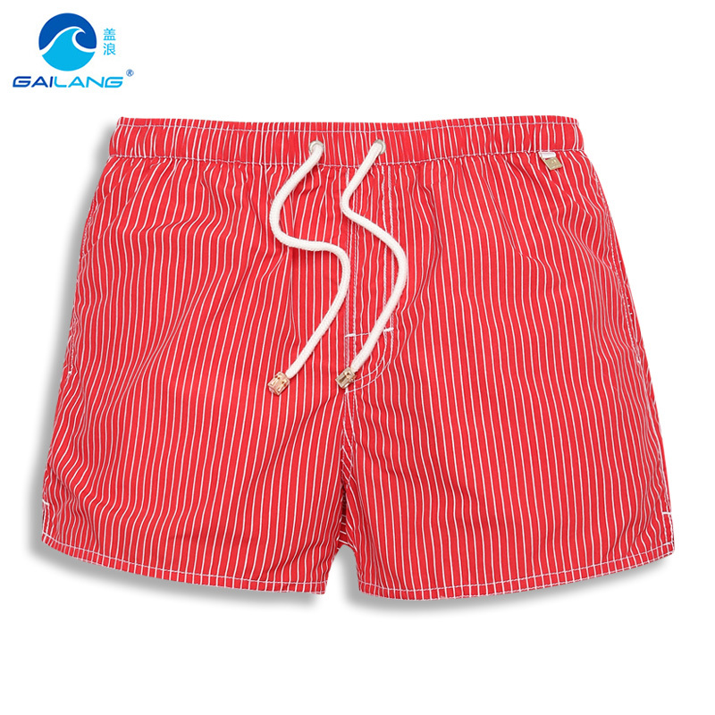 2018 Nylon Liner Surf boardshorts Brand Summer Men's Beach   board     Shorts   lined Men Bermuda Male striped mesh plus size