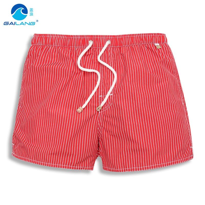 2018 Nylon Liner Surf boardshorts Brand Summer Men's Beach   board     Shorts   lined Men Bermuda Male striped mesh plus size