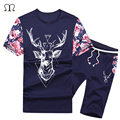 2017 New Arrivals Summer mens tracksuit short sleeve T-shirt and shorts casual suit sprots set men's Round neck t shirts