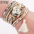 CCQ Brand Fashion Crystal Leather Bracelet Watch Women Multilayer Tassel Wristwatches Drop Shipping Relogio Feminino Clock 2028