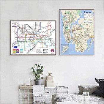 世界地下鉄メトロ地図ポスターと版画キャンバスアート装飾壁の写真リビングルームのホームインテリア絵画