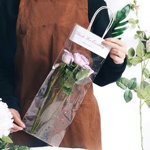 10pcs/set 3 sizes Flower Transparent hand bag Nordic style Paper Bags Packaging bag Waterproof Bouquet bag Gift  Decorations kirby paper bag style 3 and g3 pkg of 3 197289sw
