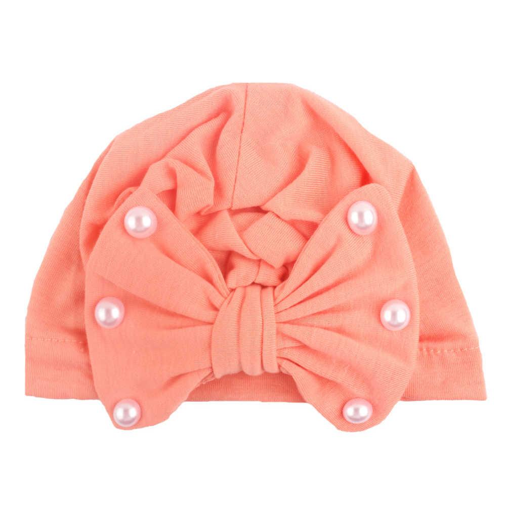 2019 ทารกแรกเกิดหมวกเด็กทารกเด็กผู้หญิง Turban Cotton Bowknot Candy Color ลูกปัดหมวกหมวก Beanie หมวกหมวกฤดูหนาว