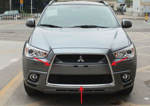 ФОТО abs chromed front grille racing grids around the trim for 2010 - 2012 mitsubishi asx car styling