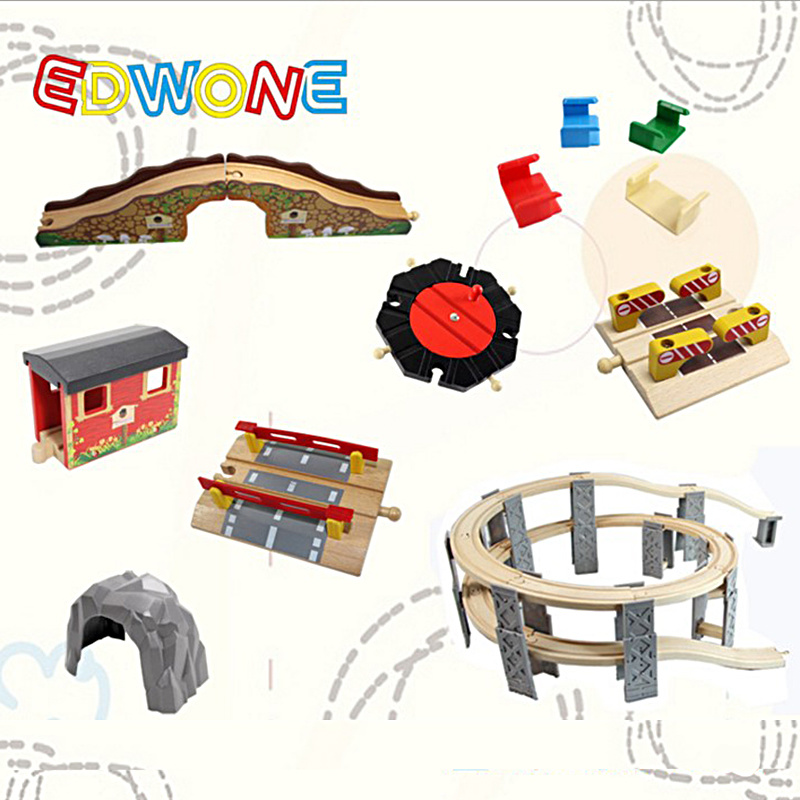 EDWONE Beech Thomas Bridge Rail Track accessories Fit Thomas and Brio Wooden Train Educational Boy/ Kids Toy Multiple track