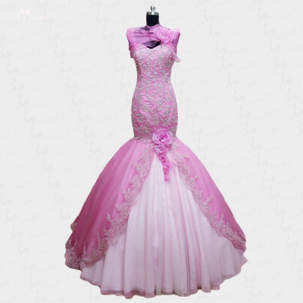 RSW91 Sirena Vestido de Compromiso de la Boda Rosa Blanca en ...