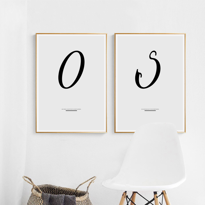 Bianche Wall N ~ Z 26 English Alphabet Letter DIY Spelling Canvas Painting Art Print Poster Picture Paintings Home Decor