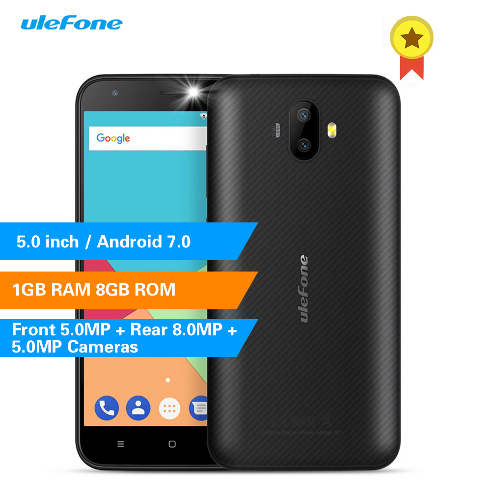 Ulefone S7 3G Smartphone 5.0 Inch Android 7.0 MTK6580 1.3GHz Quad Core 1GB RAM 8GB ROM Corning Gorilla Glass 3 Mobile Telephone