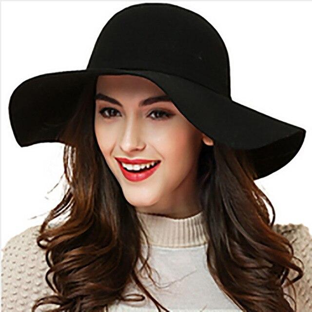 ddf0b1e9333b8 Mujeres invierno banquete 100% fieltro de lana sombreros formales niñas moda  colores sólidos ala ancha