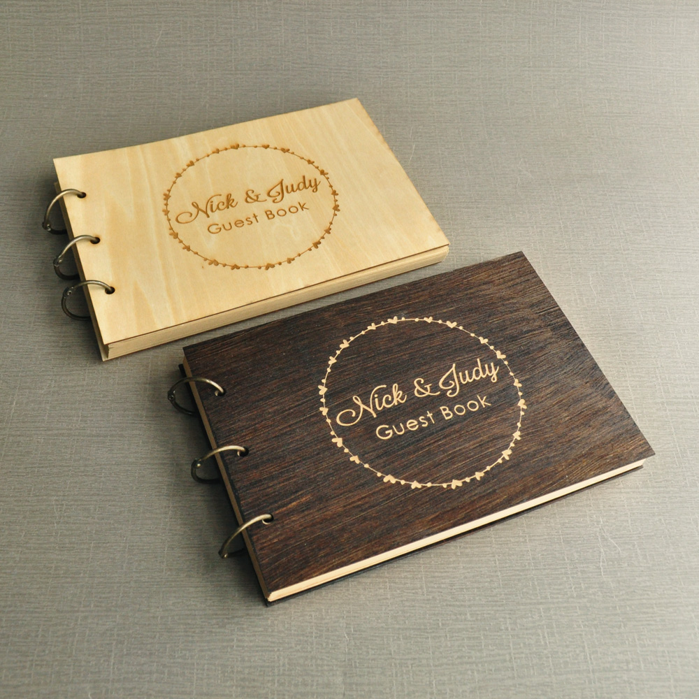 Personalized Wedding Guest Book Custom Wedding Guestbook Rustic Guest Sign Book