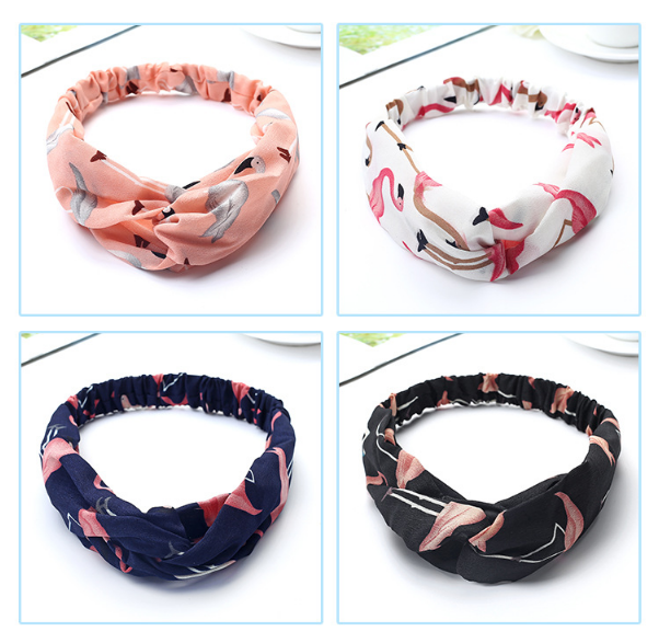 1/4 PCS Women Fashion Headbands Cartoon Flamingo Cross Hair Bands Turban Bandage Bandana Headwear Head Wrap Hair Accessories