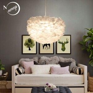 Image 1 - לופט מודרני לבן טבע אווז נוצת תליון אורות רומנטי E27 led תליון מנורות לבית מסעדת חדר שינה סלון