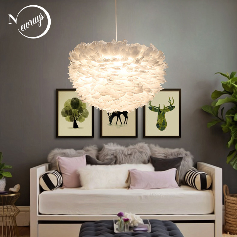 Loft Modern White Nature Goose Feather Pendant Lights Romantic E27 Led Pendant Lamps For Home Restaurant Bedroom Living Room