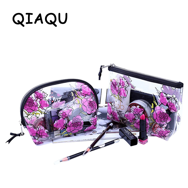 QIAQU Transparent Cosmetic Bags HighQuality PVC Makeup Bags Travel Organizer Necessary Beauty Case Toiletry Bag Wash Makeup Box 2018 travel cosmetic bag packing cubes print makeup bags beauty case two tier cosmetics box waterproof organizer bag