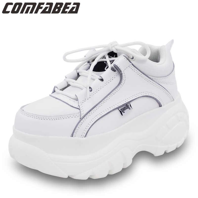 aabebff5d7c2 Осенняя повседневная обувь Для женщин абрикосового цвета ботильоны на  платформе белого цвета резиновой подошве женская обувь на плоской подошве  Harajuku ...