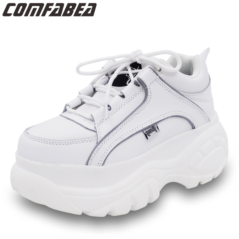 Nouveau 2018 Automne Casual Chaussures Femmes Abricot Blanc Plate-Forme Chaussures Creepers Dames Appartements Chaussures Harajuku Creeper Chaussures Confortables