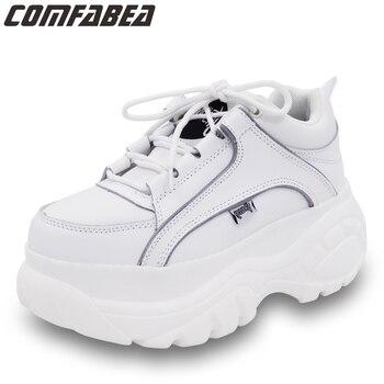 Nuevos zapatos casuales de primavera 2019 para mujer zapatos de plataforma blanca albaricoque Creepers zapatos planos de mujer Harajuku zapatos cómodos