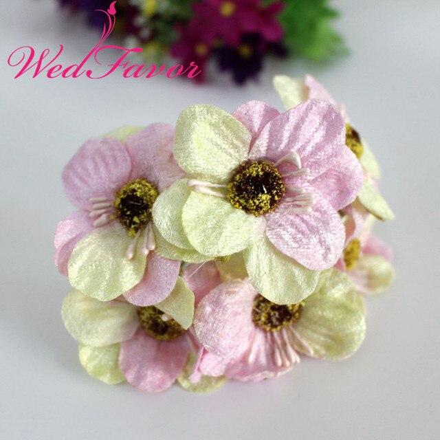 WedFavor 5cm Velvet Cherry Blossom Flower Bouquet Artificial Fabric ...