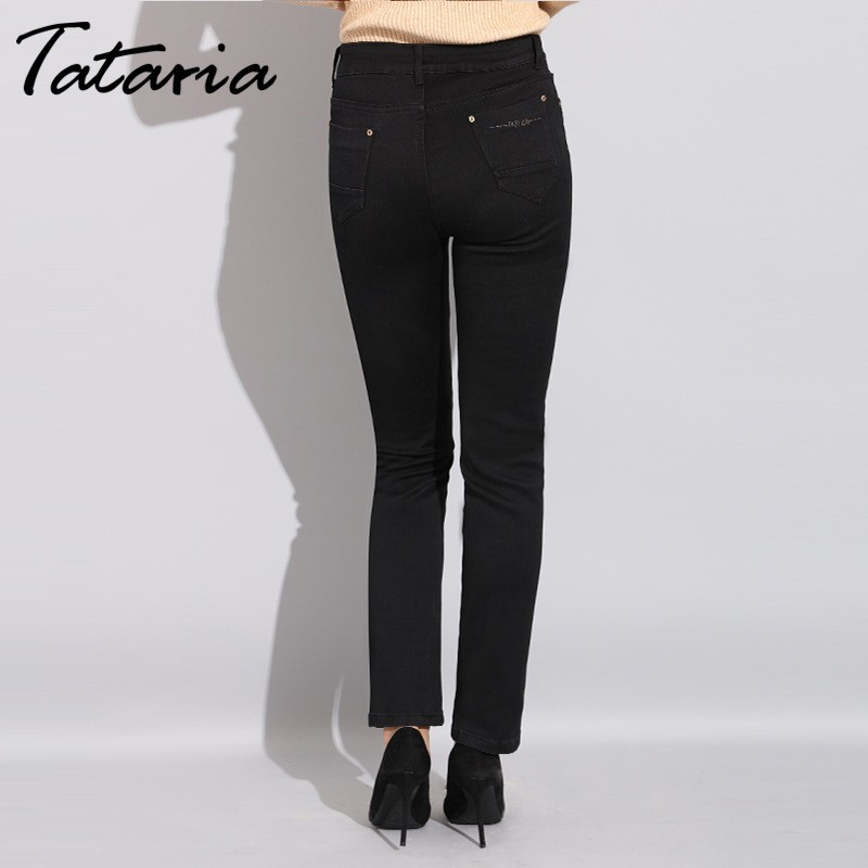 0f044e8f6cae2 Tataria High Waist Women Black Jeans Plus Size Stretch Mom Skinny Jeans For Women  Autumn Winter Jeans With High Waist Jean Femme-in Jeans from Women s ...