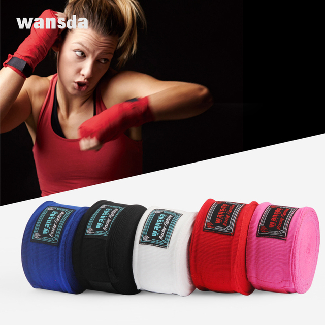 2pcs/pack 5M Cotton Kick Boxing Bandage Wrist Straps Sports Sanda Taekwondo Hand Gloves Wraps Bandagem Muay Thai