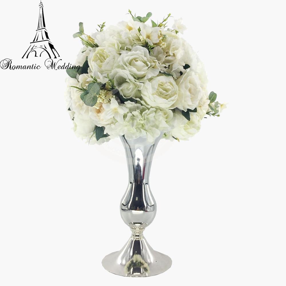4 pcs/lot classique petit métal argent Vases trompette forme fleur Stand pour mariage événement fête décoration-14 pouces de hauteur