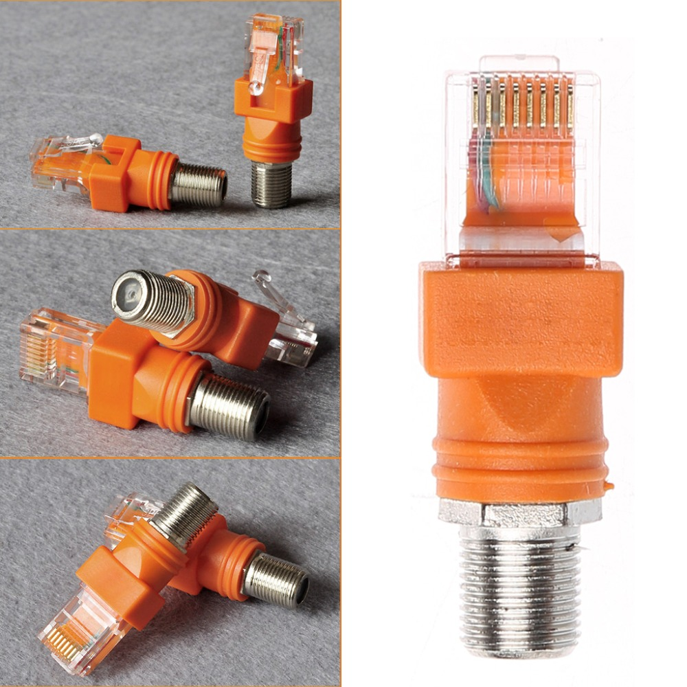1Pc Orange F Female To RJ45 Male Coaxial Barrel Coupler Adapter RJ45 To RF Connector Converter Adapters High Quality C26