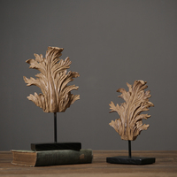 Nordic Home Furnishing Decoration Resin Retro Leaf Model American Village Style Luxury Hand Made Home Deco