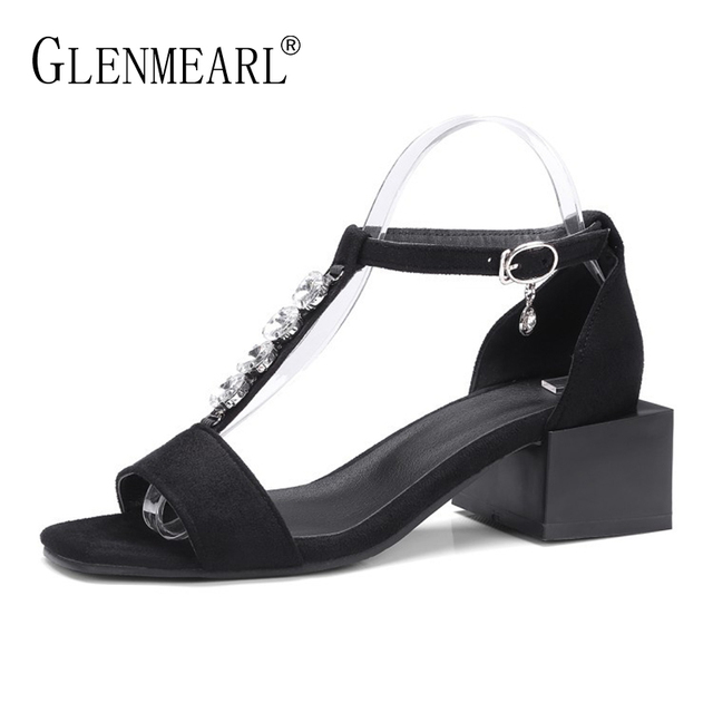 683487b15fe Summer-Women-Sandals-High-Heels-Shoes-Black -Peep-Toe-Rhinestone-Ankle-Strap-Sandals-Woman-Square-Heels.jpg_640x640.jpg