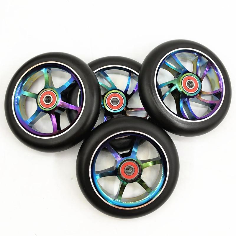 UnabhäNgig 2 Pcs Micro Mini Roller Rad Blinkende Led-leuchten Roller Rad Mit 2 Abed-7 Lager 80mm 100mm 120mm Sport & Unterhaltung