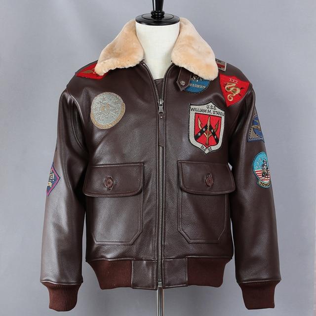 cab06161c48 Avirex fly Badge Air Force Flight Jacket Fur Collar G1 Bomber Jacket Men  Genuine Leather Jacket Pilot Real Leather Winter Coat