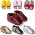 Hot ! 21 New Style Baby Mocassins PU Leather Soft Sole Baby Shoes First Walkers Fringe Newborn Toddler Shoes For Boys Girls