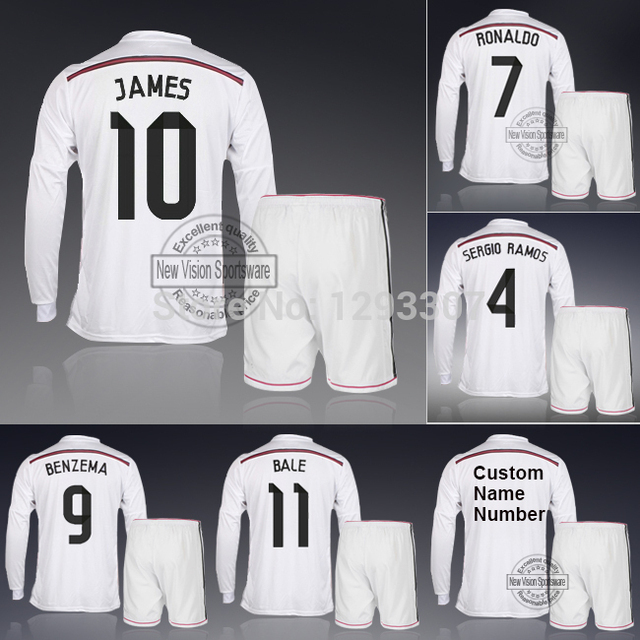 42d67fffb2 14 15 Madrid White Home Full Long Sleeve Ronaldo Bale James Kroos Sergio  Ramos Football Kit