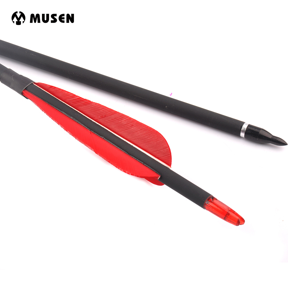 6/12/24pcs Mixed Carbon Arrow 30 Inches Diameter 7.8 mm with 3 Red Real Feather Suit Bow for Outdoor Archery ...