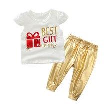 Niños ropa niña ropa pétalos manga camiseta con polainas de oro moda recién nacido Ropa