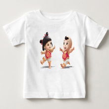 Chinese doll printed childrens T-shirt new years dolls boys and girls summer style lovely baby