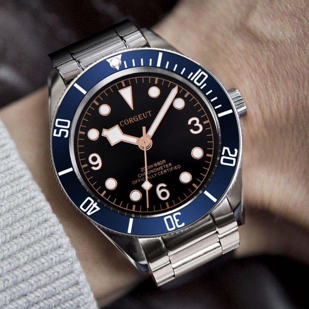 Saatler'ten Spor Saatler'de Corgeut lüks marka mekanik saat Schwarz defne erkekler otomatik askeri spor yüzmek saat deri mekanik bilek saatler'da  Grup 1