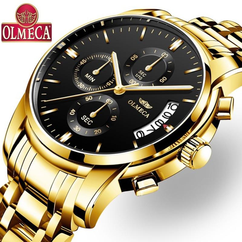 OLMECA Men Watch Chronograph Sport Mens Watches Top Brand Luxury Waterproof Full Steel Quartz Gold Clock Men Relogio Masculino