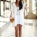 Свободные Летние Sexy Белого Шифона Dress Женщины Повседневная Вечера Партии Леди Короткие Мини Dress Fashion Design Vestidos Роковой J17