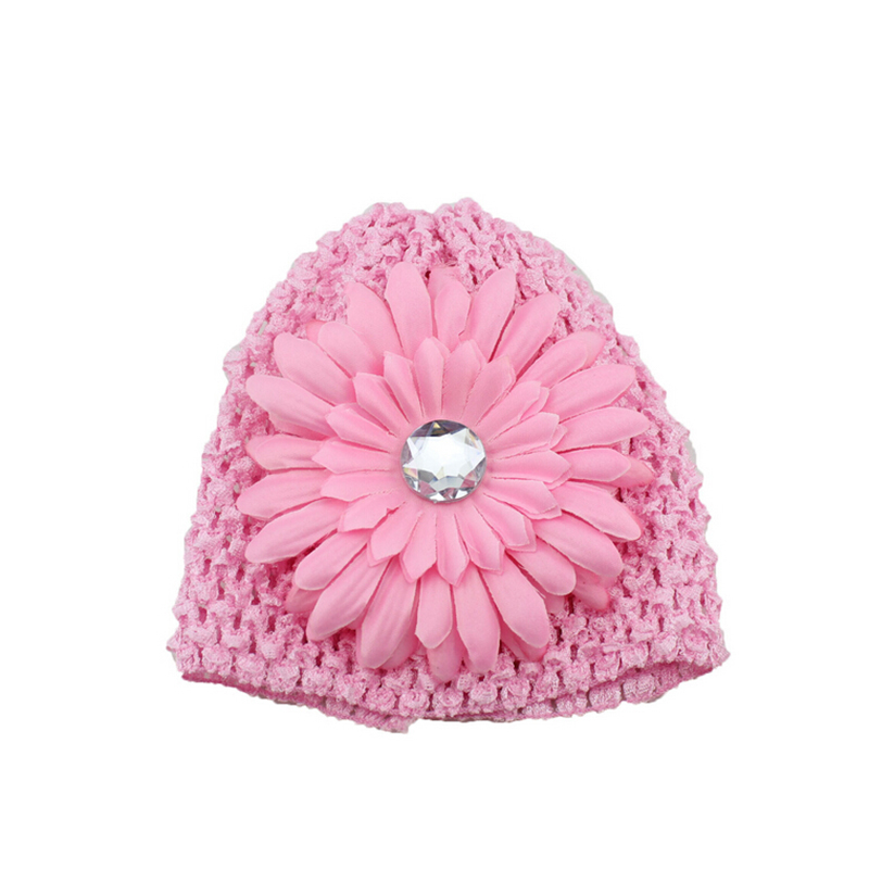 33164bb6d49 New Arrival Winter Warm Cute Baby Girl Infant Toddler Hand Crochet Beanie  knitted Hat + Daisy Flower Clip Cap Accessories-in Hats   Caps from Mother    Kids ...