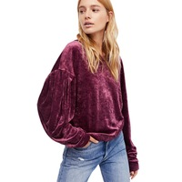 2018 women's clothing winter hoodies lantern sleeve velour fabric warm pullovers casual autumn outerwear hot sale velvet hoodie