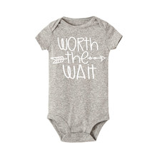Worth The Wait Arrow Letter Print Infant Toddler Baby Boys Girls Short Sleeve Solid Bodysuit Jumpsuit Funny One Pieces Outfits(China)